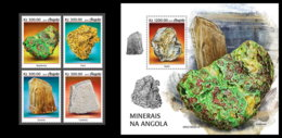 ANGOLA 2019 MNH Minerals Mineralien Mineraux 4v+S/S - OFFICIAL ISSUE - DH2004 - Minerali