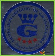 Voyo HOTEL DON GREGORY Playa San Augustin Gran Canaria  Spain Hotel Label Sticker 1980s  Vintage Metallized - Etiquetas De Hotel