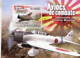 S.Tomé E Principe  -  Avions De Combat  WWII  -  Mitsubishi Zero - Aichi D3A   -  1v MS Neuf/Mint/MNH - Aerei