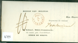 MILITAIR * HANDGESCHREVEN BRIEF Uit 1852 Gelopen Van KOLONEL STORM DE GRAVE Te AMSTERDAM Aan BURG Te VENHUIZEN  (11.794) - Netherlands