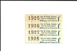 4 Tickets. Tickets Anciens. Soc. Ds Transp.  Automob. Des Hautes Vosges. Voir Description - Autres