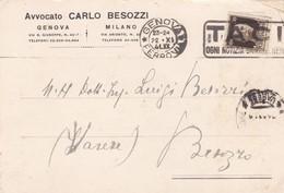 STORIA POSTALE - GENOVA - MILANO - AVVOCATO CARLO BESOZZI - VIAGGIATA  PER BESOZZO ( VARESE) - Storia Postale