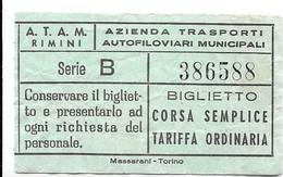 A.T.A.M. Rimini - Azienda Trasporti Autofiloviari Municipali - Biglietto Corsa Semplice. - Autobus