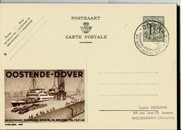Publibel Obl.  N° 1187 ( OOSTENDE - DOVER - Bateaux- Autos-trains)  Obl. DEN HAAN 19/06/53 - Publibels