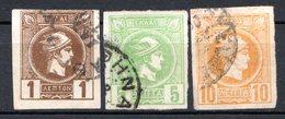 GRECE (Royaume) - 1886-88 - N° 55 à 58 - (Lot De 3 Valeurs Différentes) - (Tête De Mercure) - Oblitérés