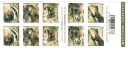 Boekje Met 10 Zelfklevende Zeguels.  De Marterachtigen.  Les Mustélidés. - Postzegelboekjes 1953-....