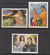 2012 Bolivia Leaders Of 1781 Siege  Complete Set Of 3 MNH - Bolivien