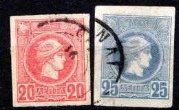 GRECE (Royaume) - 1886-88 - N° 59 Et 60 - (Lot De 2 Valeurs Différentes) - (Tête De Mercure) - Oblitérés