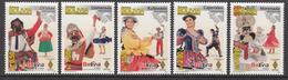 2012 Bolivia Folk Dances Culture Costumes  Complete Set Of 5 MNH - Bolivia