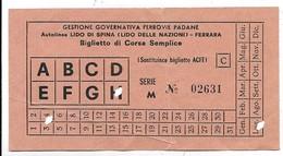 Autolinea Lido Di Spina (Lido Delle Nazioni) - Ferrara. Gestione Governativa Ferrovia Padane. - Autobus