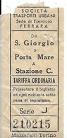 Società Trasporti Urbani - Sede Di Esercizip (Ferrara). Da San Giorgio O Porta Mare E Stazione Centrale. - Europe