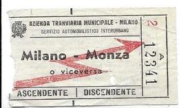Azienda Tranviaria Municipale (Milano). Servizio Automobilistico Interurbano. Milano - Monza O Viceversa. - Chemins De Fer