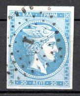 GRECE (Royaume) - 1861-62 - N° 14A - 20 L. Bleu - (Tête De Mercure) - (Avec Chiffre Au Verso) - Gebraucht