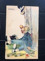 SENTINELLA UBRIACA  BOTTIGLIE DI  VINO RHUM GRAPPA   1908 - Humour