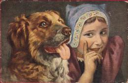 Dog Chien Hond Hund Illustrator Illustrateur Fille Girl Dutch Folklore Costume Reclame Publicite Fountain Pen SWAN CPA - Dogs