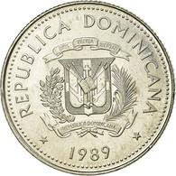 Monnaie, Dominican Republic, 25 Centavos, 1989, TTB, Nickel Clad Steel, KM:71.1 - Dominikanische Rep.