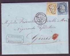 BOUCHES DU RHONE - LSC - Tàd T17 MARSEILLE (1873) + GC 2240 Sur N° 59 + N° 60 ->  Gênes (Italie) - Marcophilie (Lettres)