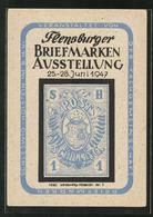 AK Flensburg, Briefmarken-Ausstellung Im Juni 1947, Marke Schleswig-Holstein Nr. 1, 1850 - Briefmarken (Abbildungen)