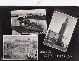 CIVITAVECCHIA-ROMA-SALUTI DA(MULTIVEDUTE) 3 IMMAGINI-CARTOLINA VERA FOTOGRAFIA- VIAGGIATA IL 12-12-1960 - Civitavecchia