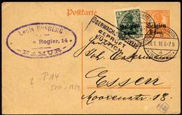 Belgium 1918 Occupation By Germany  Scott  #N12-13 ...Late Useage Post Card  NAMUR NAMEN - WW I
