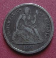 USA 1861 Silver 1 DIME (10 Cents) Seated Liberty - EDICIONES FEDERALES