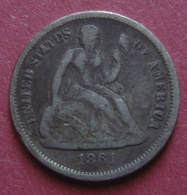 USA 1861 Silver 1 DIME (10 Cents) Seated Liberty - Federal Issues