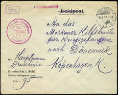 German P.O.W. Camp In GNADENFREI GERMANY  FEB. 17, 1917  RED CENSOR  ... Lower Silesia - Germany