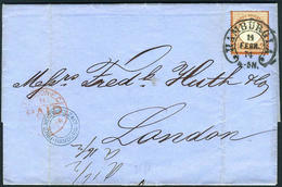 Germany  HAMBURG To LONDON Cover & Letter  Sc#19  Michel #21a   FEB.14, 1874 - Germany