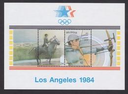 Belgium 1984 , Olympic Games - Los Angeles, USA , Archery , Souvenir Sheet , MNH - Tiro Con L'Arco
