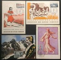 CM0385(1) Orphelins P.T.T. Foyer Féminin 1956 / Semeuse 1233  / Savoie 1246 Premier Jour 1960 Lot 4 Cartes - Maximum Cards