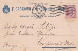 STORIA POSTALE - REGNO - TORINO - F. CASANOVA E C.- LIBRAIRES-EDITEURS  - VIAGGIATA PER CARPENEDO DI MESTRE(VENEZIA) - 1900-44 Victor Emmanuel III
