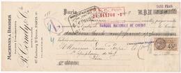 Mandat De Paris (75) Pour Saint-Symphorien De Lay (42) - 20 Janvier 1929 - Timbre Fiscal TF14 - Tissus - Ets R. Cornely - Wechsel