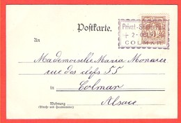 68 HAUT RHIN Poste Privée De COLMAR Stadtbrief Sur CP Gruss Du 2 Oct.1897 Oblitération Rectangulaire Privat Stadt Post - Alsazia-Lorena