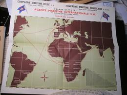 Compagnie Maritime Belge 1956 Antwerpen Kongo Leopoldville Tracé De Route - Zeekaarten