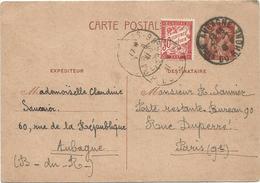 ENTIER 80C IRIS CP AUBAGNE 1941 B DU RHONE POUR PARIS TAXE 30C POSTE RESTANTE - Entiers Postaux