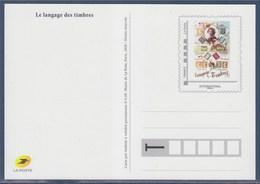 = Type MonTimbraMoi International Entier Carte Postale Cadre Gris Phil@poste Langage Des Timbres - Biglietto Postale