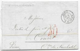 1864 - PARIS - TAXE TAMPON De 40 En ROUGE Sur LETTRE De PARIS RUE DU HELDER => COUVET (SUISSE) - Marcophilie (Lettres)