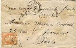 1865- Enveloppe CHARGE V D 250 F. Affr. N°23 SEUL Oblit. G C 947 De Chateauroux  ( Cad T15 ) - Marcophilie (Lettres)