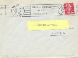 ALGERIE ALGER R P ALGER OMec RBV 27-2-1956 LOTERIE ALGERIENNE / EGALE / BOURSE PLEINE - Algeria (1924-1962)