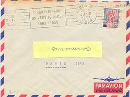 ALGERIE ALGER R.P. ALGER OMec RBV 30-11-1959 CINQUANTENAIRE / UNIVERSITE ALGER / 1909-1959 - Algeria (1924-1962)