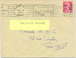 ALGERIE ORAN R.P. ORAN OMec RBV 15-3-1956 (ABSENCE HEURE BD GAUCHE) VILLE AUX CENT VISAGES - Algeria (1924-1962)