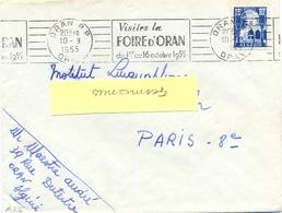 ALGERIE ORAN R.P. ORAN OMec RBV 10-9-1955 VISITEZ LA / FOIRE D'ORAN / Du 1er Au 16 Octobre 1955 - Algeria (1924-1962)