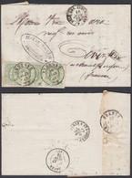 """BELGIQUE COB 30 BANDE DE 3 SUR LETTRE DE """"ANDENNE"""" DOUBLE CERCLE 16/06/1875 VERS FRANCE  (DD) DC-6387 - 1869-1883 Leopold II"""