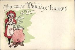 Artiste Cp Chocolat Derbaix Laeken, Reklame, Mädchen Kocht Heiße Schokolade - Cartes Postales