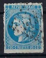 FRANCE 1870:  20 C. Cérès Bleu Percé En Lignes (Y&T 46b), Oblitéré Grille - 1870 Ausgabe Bordeaux