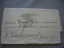 Lettre 1837 Mirande Cachet Type 13 Pour Fontenay Le Comte Taxe 7 - Marcophilie (Lettres)