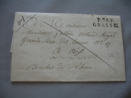 Lac 1826 P 78 P Grasse Marque Lineaire  Lettre Taxee Manuele Pour Aix En Provence - Marcophilie (Lettres)