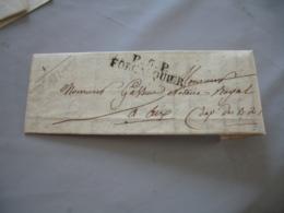 Lac  P 5 P Forcalquier Marque Postale Lineaire Lettre 1827 Pour Aix - Marcofilie (Brieven)