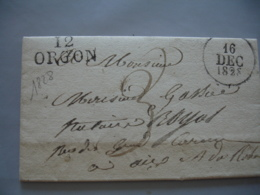 Lac  12  Orgon    Marque Postale Lineaire Lettre 1828 Pour  Aix Lettre Taxee Manuelle  Cachet Timbre A Date A - Marcophilie (Lettres)