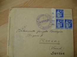 1939 Lettre Ouverture Censure  Ecole Militaire Artillerie Poitiers Pour Renens Vaud 3 Timbre Paix 90 C - Marcophilie (Lettres)